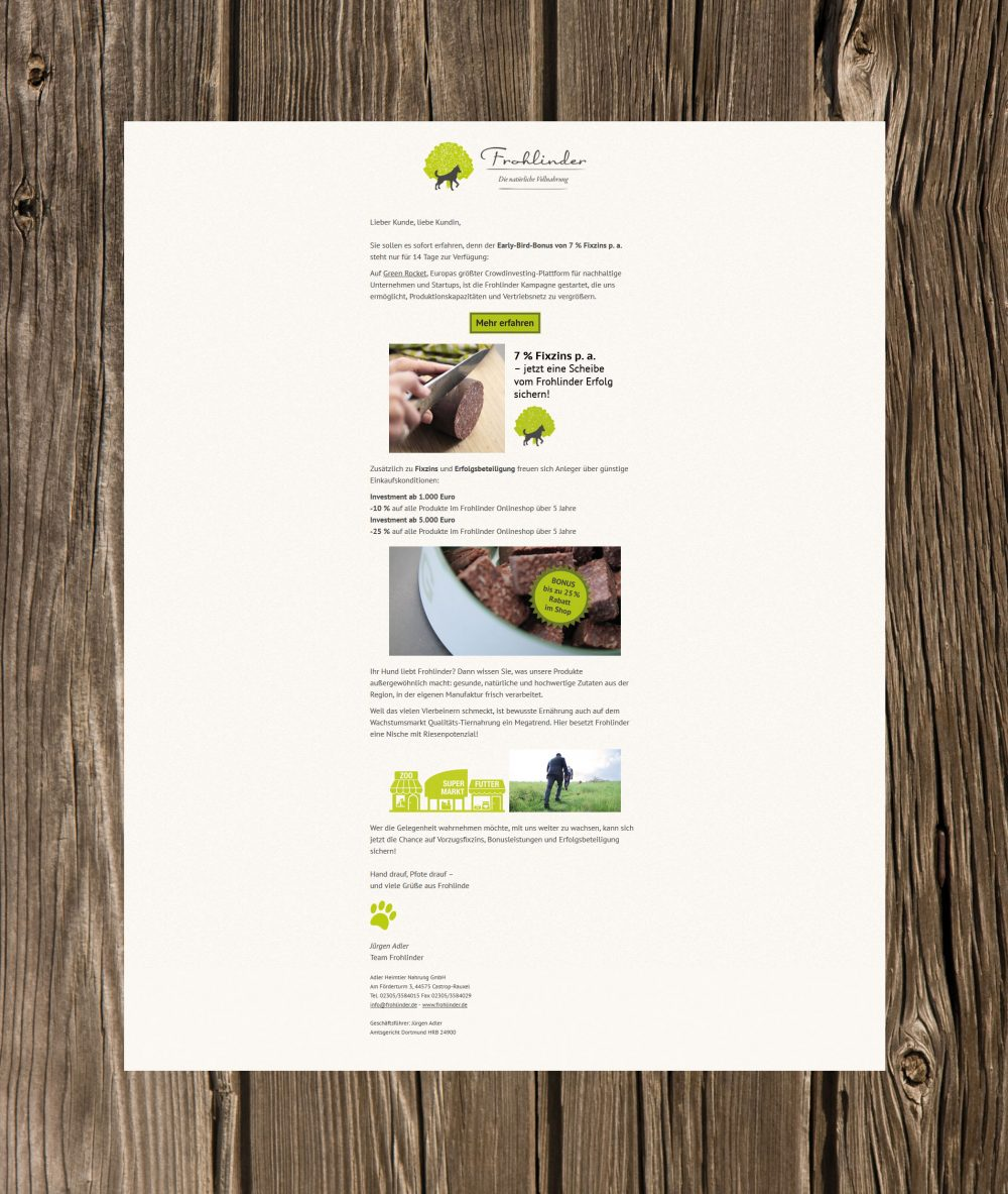 webdesign frohlinder newsletter green rocket